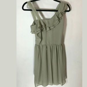 TOPSHOP Olive Green One Arm Ruffle Dress 6